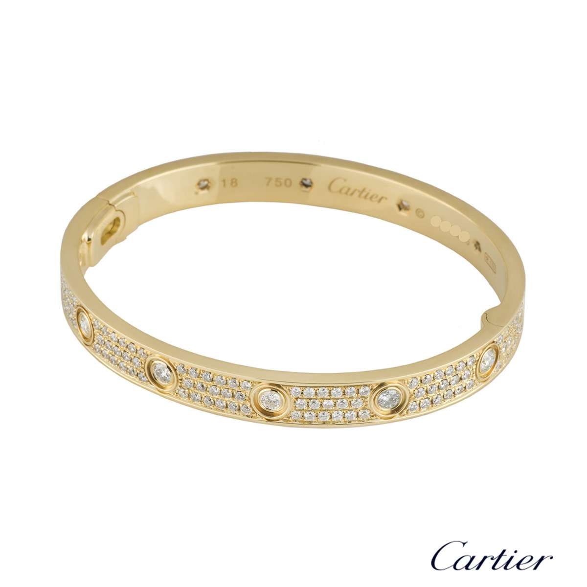 0559aab34384bd ... Cartier Yellow Gold Pave Diamond Love Bracelet Size 18 ...